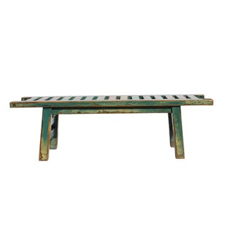 Oriental Distressed Teal Blue Multi-Color Long Wood Bench Stool Preview