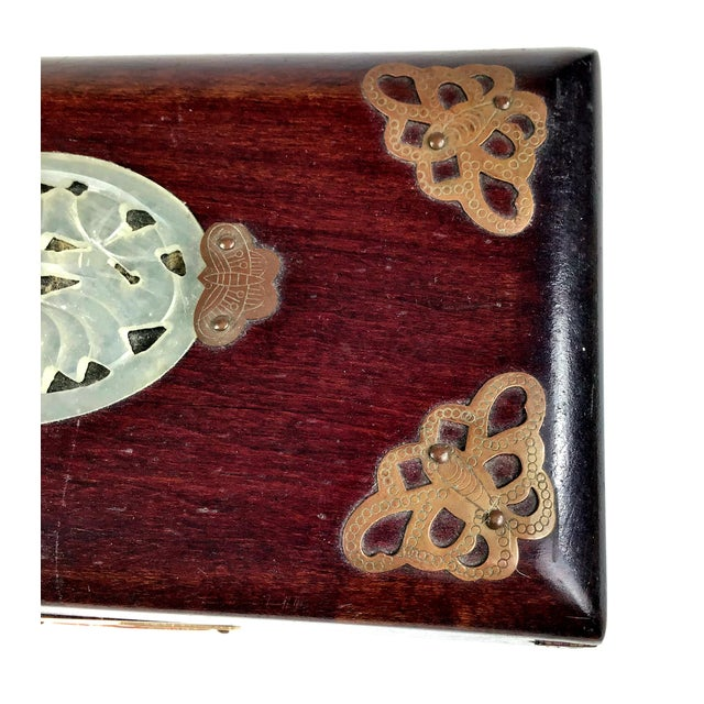 1920s Chinese Jade & Rosewood Cigarette Box For Sale - Image 9 of 13