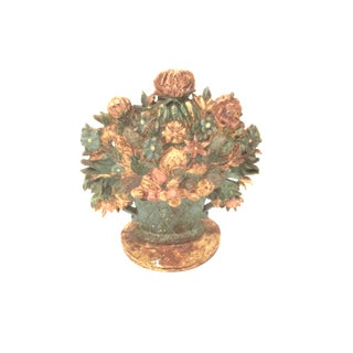 Cast Iron Flower Basket Door Stop For Sale