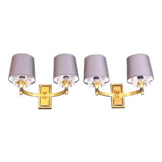 Mid 20th Century Jacques Adnet Brass Sconces for Maison Arlus, France - a Pair For Sale