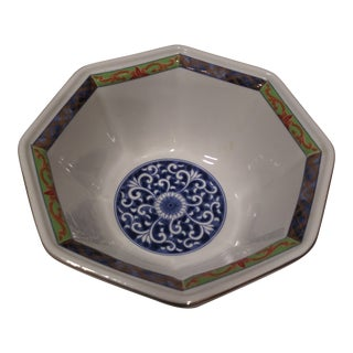 Asian Hand Painted Salad Bowl For Sale