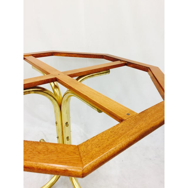 Brass Vintage Mid-Century Modern Chrome Craft Brass & Wood Table For Sale - Image 7 of 10