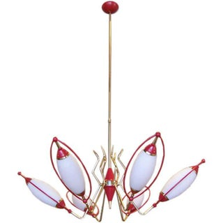 Oscar Torlasco Six-Light Red and White Cone Chandelier For Sale