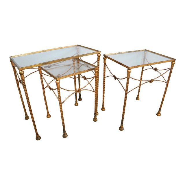 Gold Metallic Nesting Side Tables - Set of 3 - Image 1 of 6