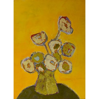 "Bill Tansey ""Yellow"" Abstract Floral Oil Painting on Canvas For Sale"