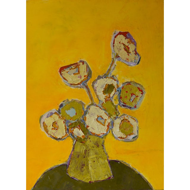 """Bill Tansey """"Yellow"""" Abstract Floral Oil Painting on Canvas For Sale"""