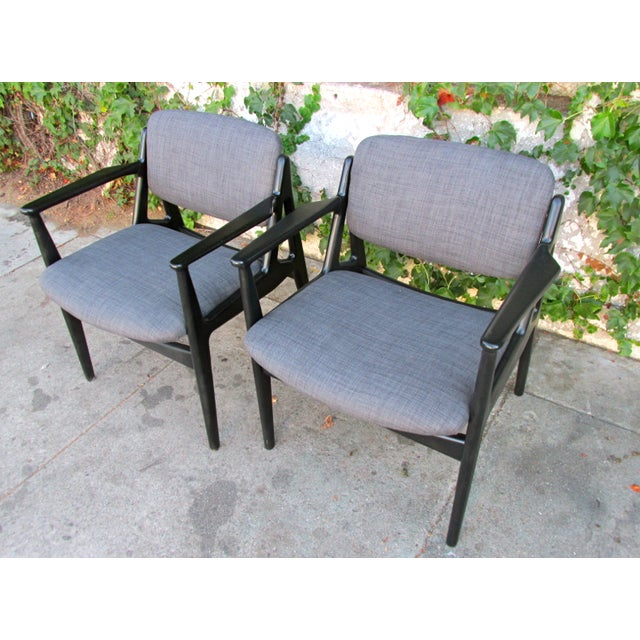 Mid-Century Black Lacquered Arm Chairs - A Pair - Image 2 of 4