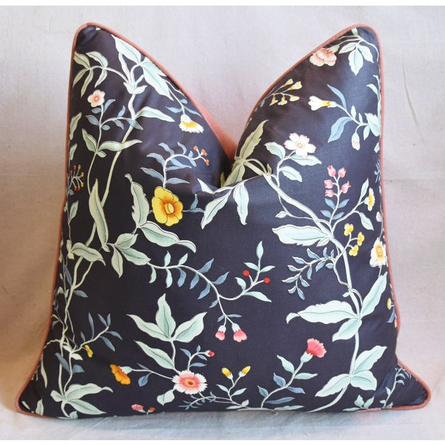 """Early 21st Century Designer Clarence House Floral Fabric Feather/Down Pillows 23"""" Square - Pair For Sale - Image 5 of 13"""