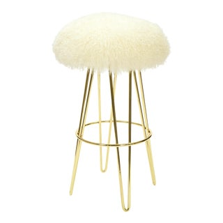 Warm White Curly Hairpin Brass Swivel Barstool For Sale