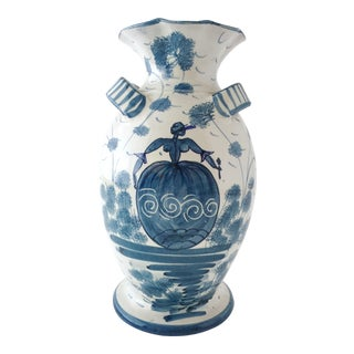 Italian Mid-Century Hand-Painted Blue and White Vase For Sale