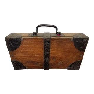 Antique French Oak & Iron Strong/Cash Box For Sale