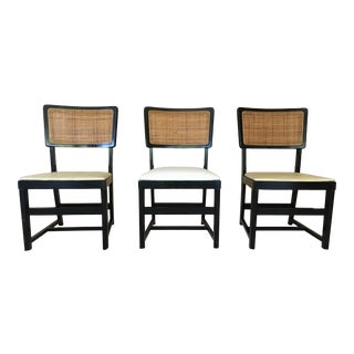 Vintage Mid-Century Custom Seat Height Caned Back and Black Painted Side Chairs - Set of 3 For Sale