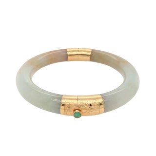Vintage 14k Gold and Jade Hinged Bangle Bracelet For Sale