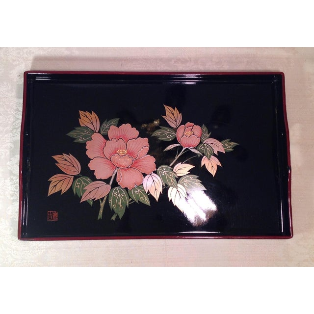 Mid-Century Modern Japanese Lacquer Tray With Floral Design - Image 5 of 11
