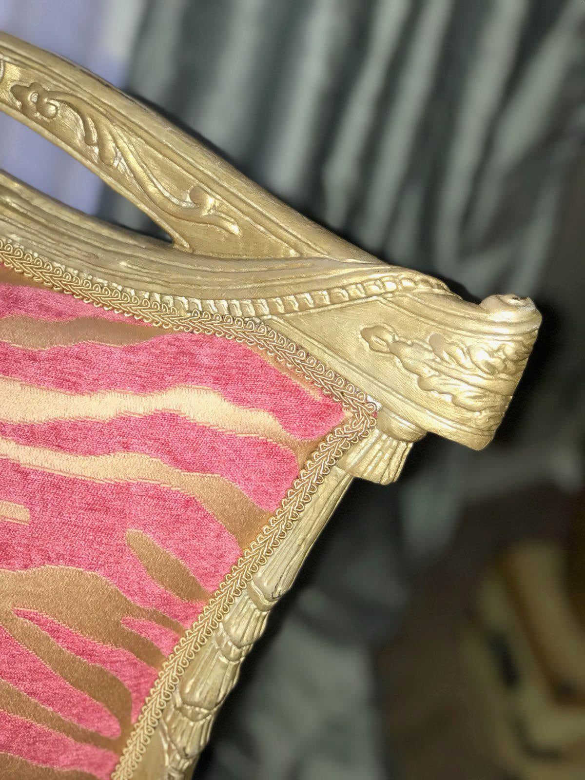 Pink Zebra Print Upholstered Chair With Gold Frame   Image 6 Of 7