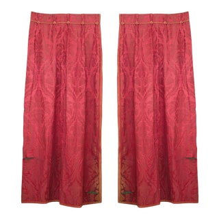 Rose Damask Knotted Cord Drapes For Sale