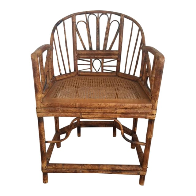 Vintage Bamboo Chinoiserie Accent Chair For Sale