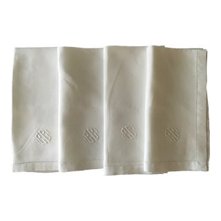 Monogrammed White Linen Napkins - Set of 4