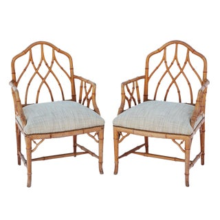 Pair of Gothic Style Fretwork Faux Bamboo Armchairs For Sale