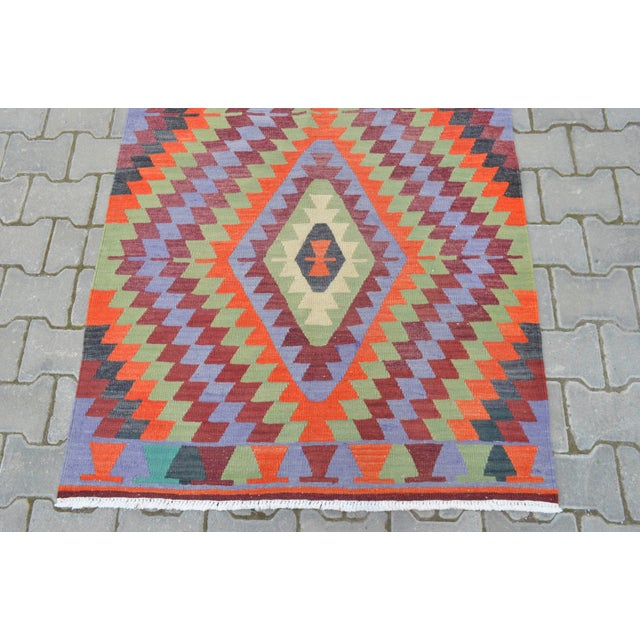 "Handmade Turkish Kilim Runner - 3'8"" X 9'8"" - Image 8 of 10"