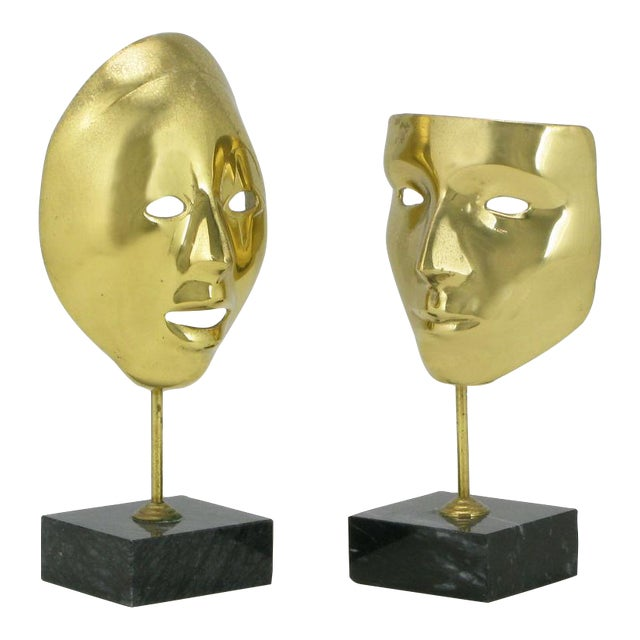 Pair Brass Carnivale Masks Mounted On Black Marble For Sale