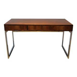 Milo Baughman 3 Drawer Rosewood Writing Desk on Chrome Base For Sale