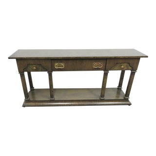 Hollywood Regency Burlwood Console Table For Sale