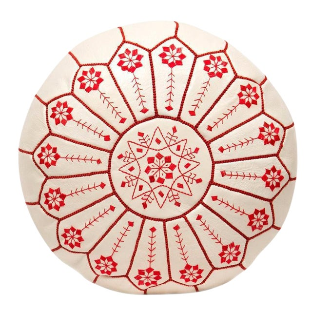 Embroidered Leather Pouf, Red on White Starburst Stitch - Image 1 of 5