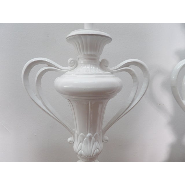 1980s 1980s Vintage Handled Metal Urn Lamps in New White Lacquer - a Pair For Sale - Image 5 of 7
