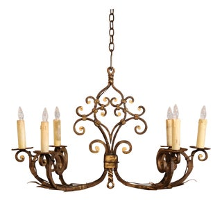 19th Century French Forged Six-Light Oblong Iron Chandelier From Normandy