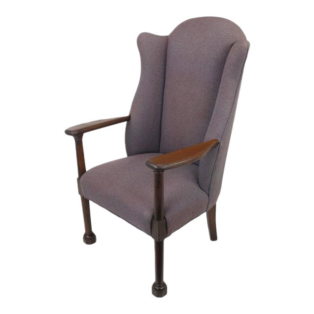 Late 1800s English Arts and Crafts Open Arm Wingback Chair - Image 1 of 7