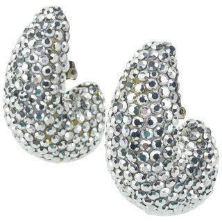 1980's Richard Kerr Nautilus Shaped Silver Pave Crystal Earrings For Sale