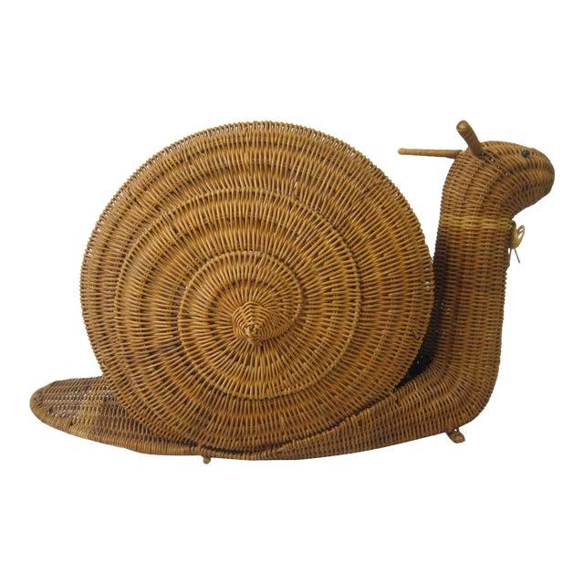 Vintage Wicker Snail Basket For Sale