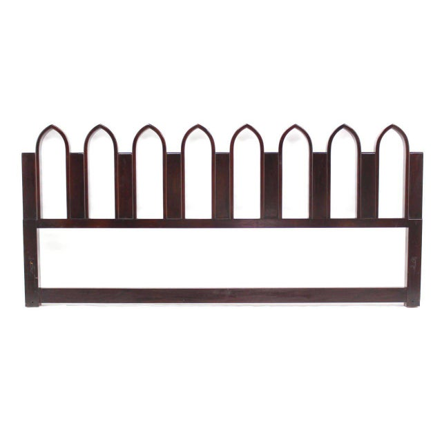 Very nice solid walnut mid-century modern king-size headboard by Harvey Probber. Sculpted out out of solid mahogany.