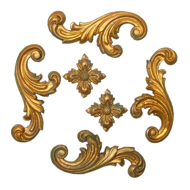 Fab Italian mid-century gilded plaster architectural salvage -- 2 rosettes and 4 flourishes. From our palazzo to yours!...