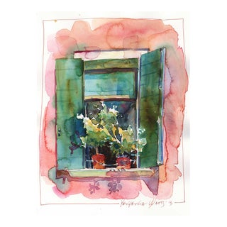 "Yevgenia Watts ""Italian Window II"" Original Watercolor Painting For Sale"