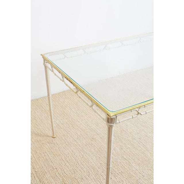 Brown Jordan Calcutta Faux Bamboo Garden Table For Sale - Image 10 of 13