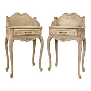 Pair Antique Country French Stripped Oak Nightstands ~ End Tables For Sale