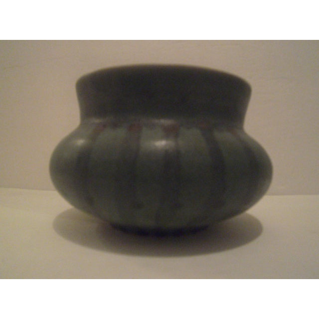 Green Striped Art Pottery Pot - Image 3 of 7