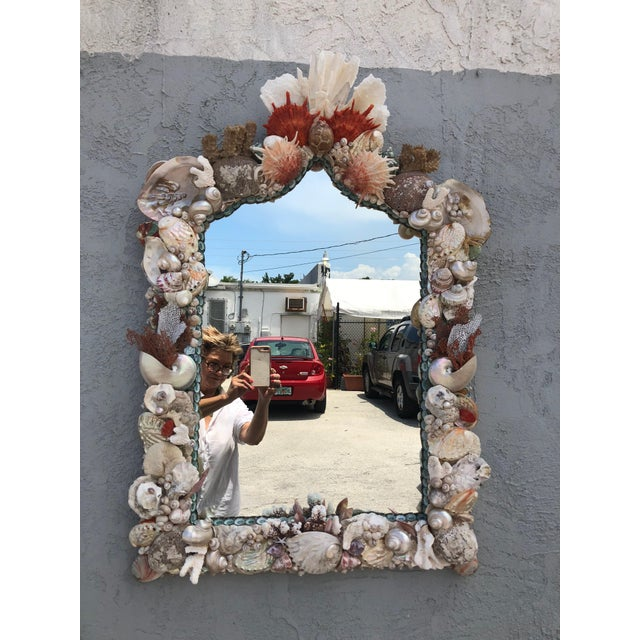 2010s Organic Modern Seashell and Coral Mirror For Sale - Image 5 of 5