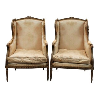 Louis XVI Style Bergere Chairs With Gilt Wood Finish, a Pair