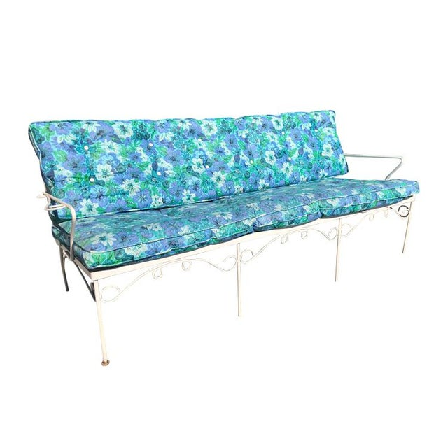Mid Century 3 Piece Outdoor White Iron Patio Chairs & Bench For Sale - Image 4 of 11
