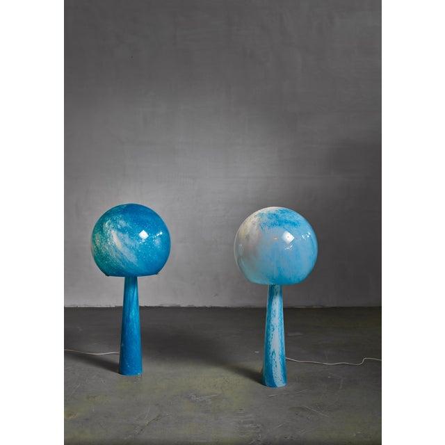 Val Saint-Lambert Extraordinary Pair of Large Blue Glass Val-Saint-Lambert Console Lamps, 1973 For Sale - Image 4 of 4