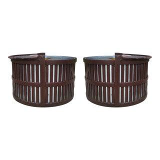 Antique Coal Basket Planters - a Pair