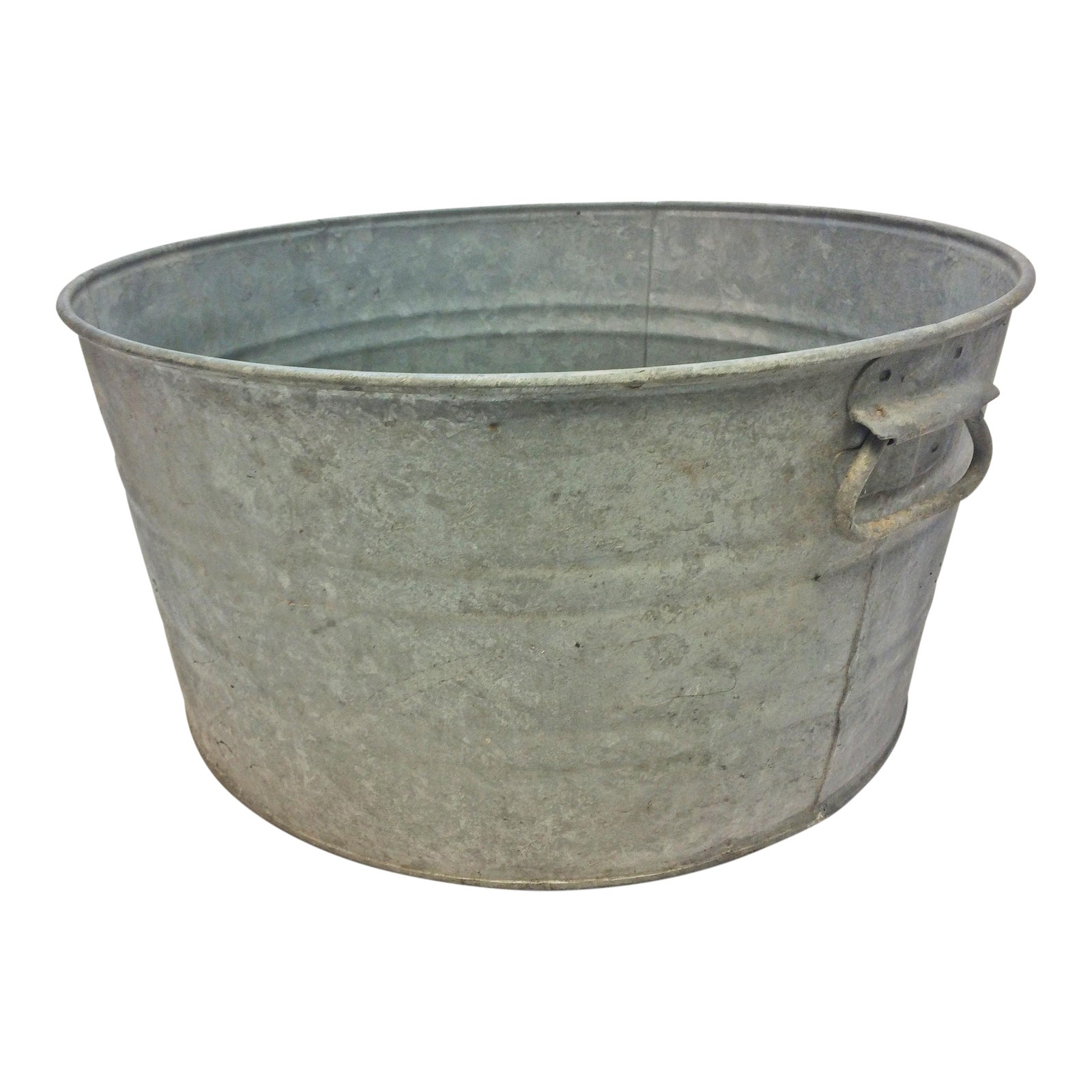 Vintage Country Galvanized Round Metal Wash Tub Chairish