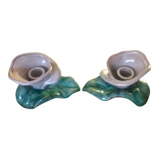 Italian Terra Cotta Calla Lilly Candle Holders - a Pair