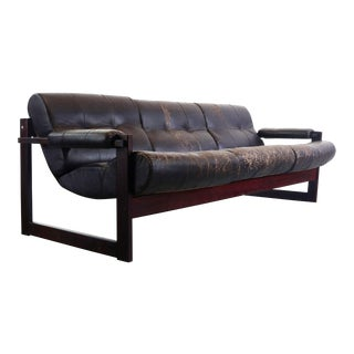 Percival Lafer Rosewood Framed Sofa in Patinad Chocolate Colored Leather Model Mp-167 For Sale