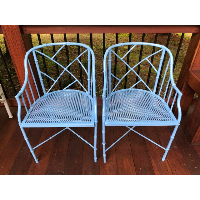 1970s Vintage Cast Aluminum Chinese Chippendale Faux Bamboo Barrel Chairs- A Pair For Sale - Image 4 of 13