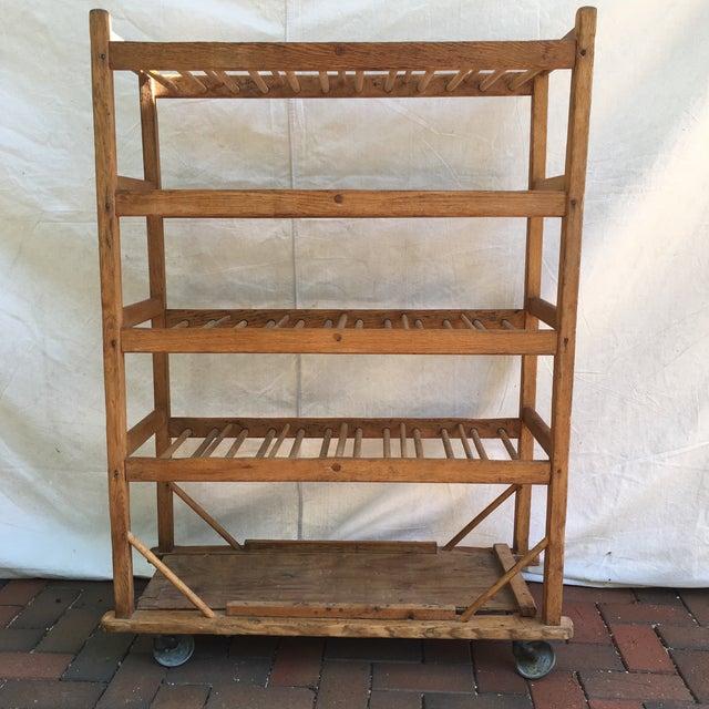 Rustic Vintage Industrial Wooden Bakers Rack For Sale - Image 3 of 10