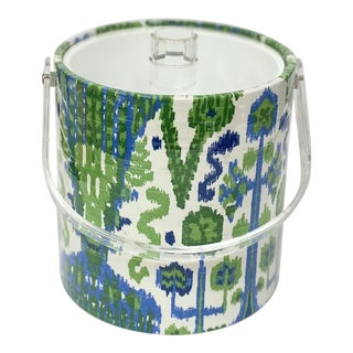 Contemporary Blue and Green Ikat Ice Bucket For Sale